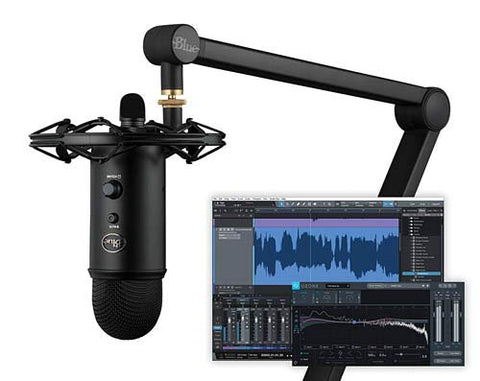 Blue Yeticaster Studio Blackout Podcast/Streaming bundled with Yeti Blackout, shockmount, Compass broadcast boom arm and Multi-Track Recording Software