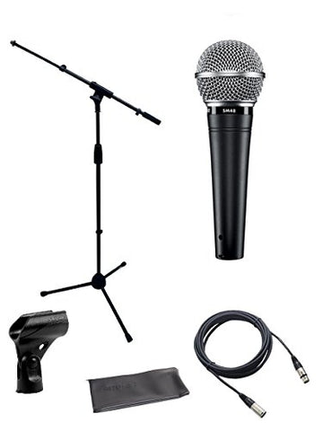 Shure SM48 Cardioid Dynamic Vocal Microphone Bundle with Boom Stand and XLR Cable