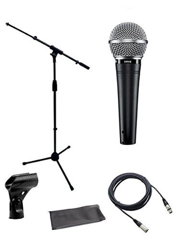 Shure SM48S Cardioid Dynamic Vocal Microphone with switch Bundle with Boom Stand and XLR Cable