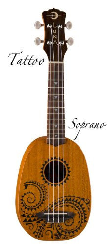 Luna Ukulele Tattoo Soprano with gigbag, UKE TATTOO (Refurb)