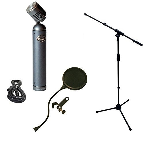 Blue Hummingbird Microphone Bundle with Mic Boom Stand, XLR Cable and Pop Filter Popper Stopper