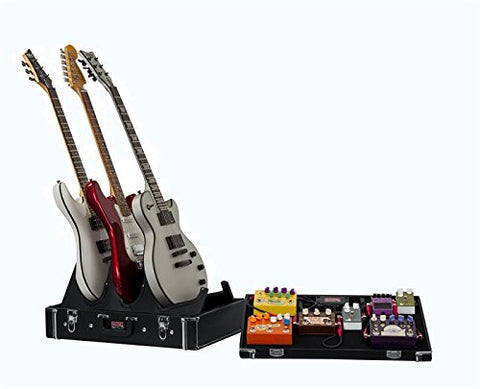 Gig-Box Jr. All-In-One Pedal Board and 3x Guitar Stand Combo Case with Classic Wooden Case and 21.5