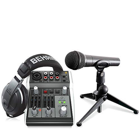 Behringer PODCASTUDIO 2 USB Podcasting Bundle with USB Mixer, Microphone, and Headphones
