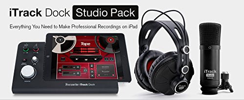 Focusrite iTrack Dock Studio Pack, includes CM25 mic, XLR cable, and HP60 headphones