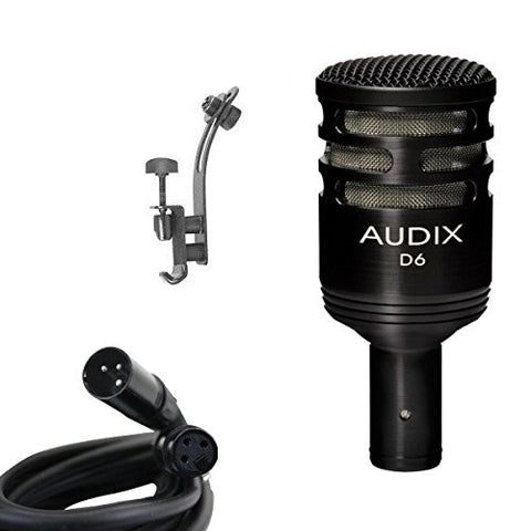 Audix D6 Microphone Bundle with XLR Cable and Drum Rim Mic Clip