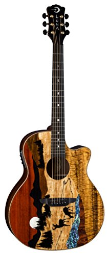 Luna Guitars 6 String Luna Vista Deer Tropical Wood Acoustic-Electric Guitar with Case