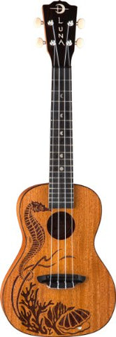 Luna Ukulele Concert Pearl All-Solid Top, Back, Sides - Satin Finish