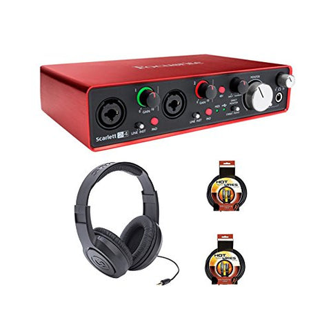 Focusrite Scarlett 2i4 Package w/ Headphones and XLR Cables