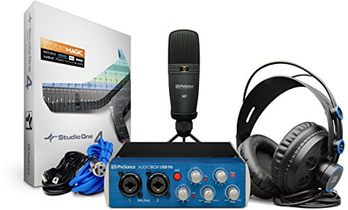PreSonus AudioBox 96 Studio USB 2.0 Recording Bundle with Interface, Headphones, Microphone and Studio One software
