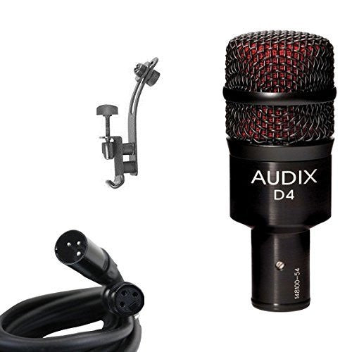 Audix D4 Microphone Bundle with XLR Cable and Drum Rim Mic Clip