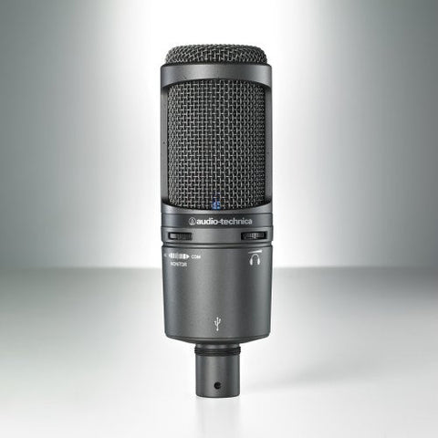 Audio Technica AT2020USB+ Side-address cardioid condenser microphone with USB digital output, built-in headphone jack, headphone volume control and mix control. Windows and Mac compatible.