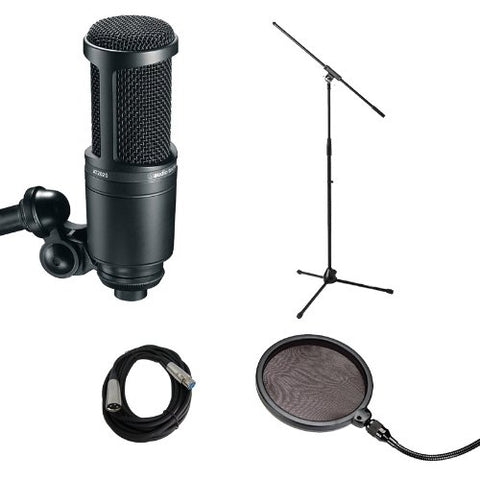Audio Technica AT2020 with Mic Stand, Pop filter and Cable - Vocal Recording Bundle