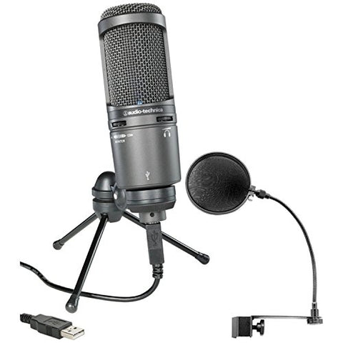 Audio-Technica AT2020USB Plus Condenser Microphone with Pop Filter(Refurb)
