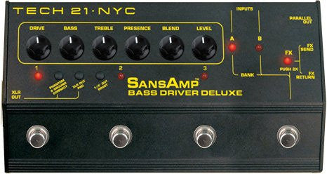 Tech 21 SansAmp Bass Driver Deluxe - Pre-Amp & DI w/ 6 programs, FX Loop