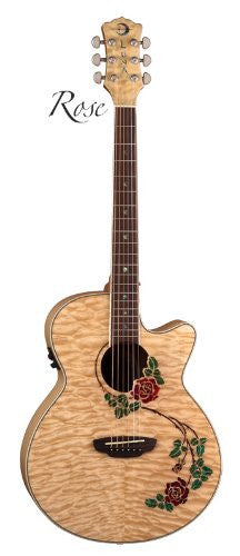 Luna Flora Rose Acoustic/Electric Guitar, FLO RSE