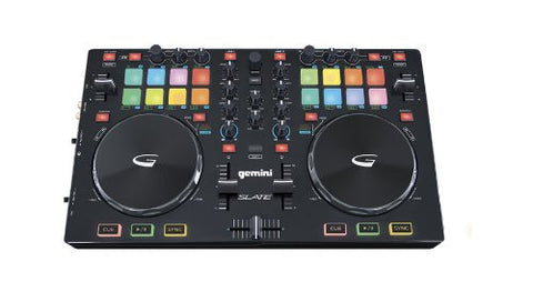 Gemini Slate USB/MIDI controller with audio I/O, multi-function pad controls, touch sensitive jog wheels, 2-channel mix controls, Comes with Virtual DJ LE