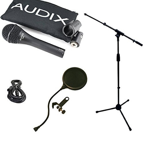 Audix OM6 Microphone Bundle with Mic Boom Stand, XLR Cable and Pop Filter Popper Stopper