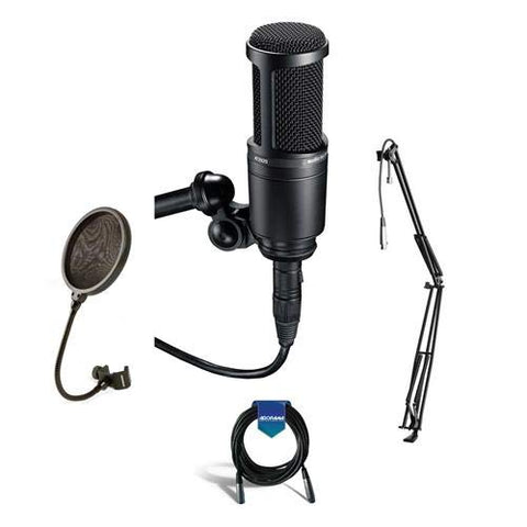 Audio-Technica AT2020 Cardioid Condenser Studio Microphone with XLR Cable Studio Boom Arm Stand and Pop Filter