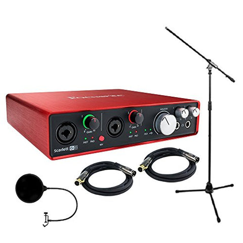 Focusrite Scarlett 6i6 (2nd Gen) USB Audio Interface with Pro Tools includes XLR Cables Technical Pro Tripod Stand and More