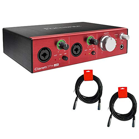 Focusrite Clarett 2Pre USB USB Audio Interface Bundle with 2x XLR Cable