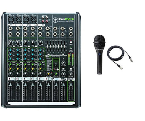 Mackie PROFX8V2 8-Channel Compact Mixer with USB and Effects bundled with mic and cable