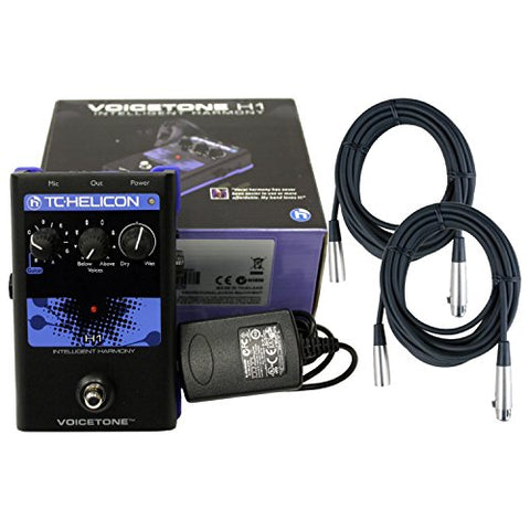 TC-Helicon VoiceTone H1 Vocal Harmony Effect Pedal with Power Supply and 2 Free 20 ft XLR Cables