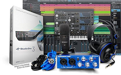 PreSonus AudioBox Studio Recording Bundle w/HD7 Headphones, M7 Mic, S1 Artist