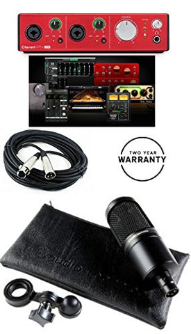 Focusrite CLARETT 2PRE 10-In/4-Out USB Interface With 2 Clarett Mic Preamps and Very Low Latency + Audio Technica AT2020 Cardioid Condenser Microphone System