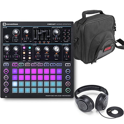 Novation Circuit Mono Station Paraphonic Analog Synthesizer with Ableton Live Lite, DJ Gig Bag and Headphones Bundle