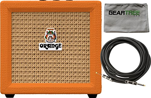 Orange Crush Mini 3-Watt Battery Powered Guitar Combo Amplifier w/Polish Cloth and Cable