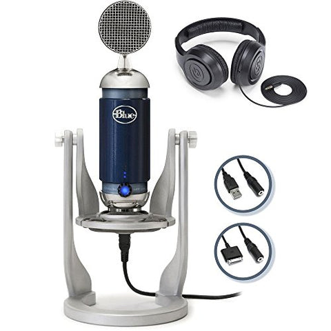 Blue Spark Digital studio condenser mic with usb for iOS, MAC, PC with Studio Headphones Bundle