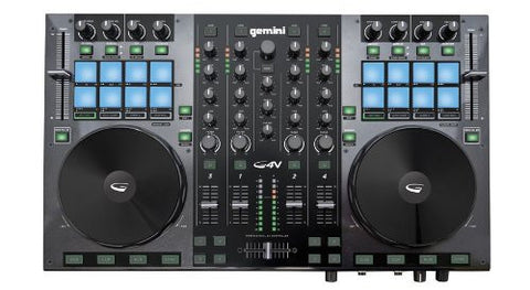 Gemini DJ G4V DJ Controller 4 Channel Midi Controller with Soundcard