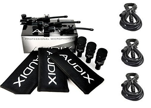 Audix D2-TRIO 3 pack D-2 drum instrument mic pack with 3 DVICE mounts, 3 Pouches and 3 Mic cables Bundle