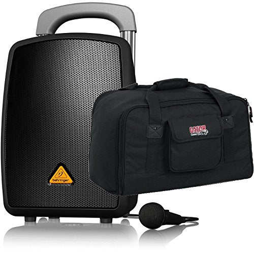 Behringer EUROPORT MPA40BT-PRO All-in-One Portable PA System with Bluetooth, Wireless Battery Power, Mic, Cable and Speaker Bag Bundle