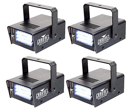 4 CHAUVET DJ CH730 Adjustable 1-12 Flash/Sec Mini Strobe LED Club Light Effects