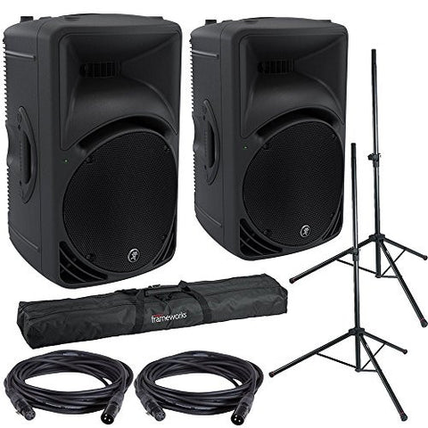 Mackie SRM450V3 Powered Speakers w/ Gator Stands, Bag, and XLR cables