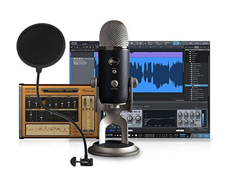Blue Yeti Pro Studio All-In-One Pro Studio Vocal USB+XLR System with Recording Software and Gooseneck PoP filter