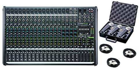 Mackie PROFX22V2 22-Channel 4-Bus Mixer with USB and Effects bundled with 3 mics, case and cables