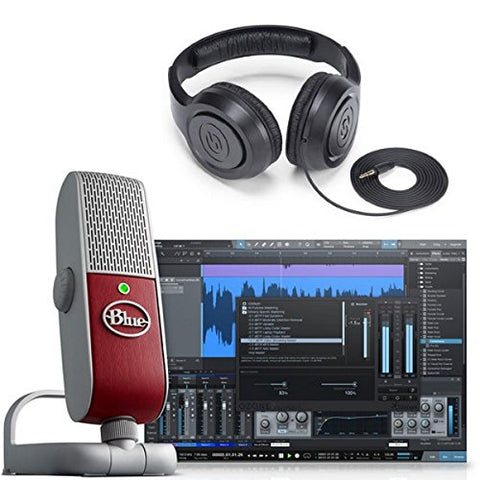 Blue Raspberry Studio Portable USB & Lightning Microphone with Recording Software and Studio Headphones Bundle