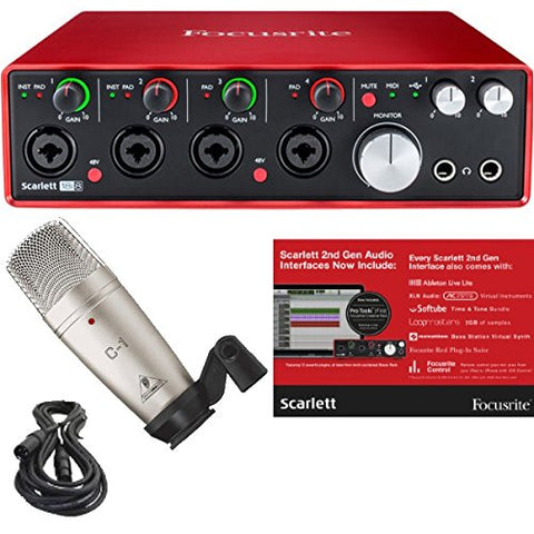 Focusrite Scarlett 18i8 (2nd Gen) USB Audio Interface with Pro Tools First and Studio Condenser Mic, Mount, Case, and XLR cable Bundle