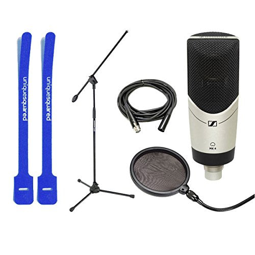 Sennheiser MK4 Cardioid Condenser Mic w/ Mic Boom Stand, Pop Filter & Cable Ties