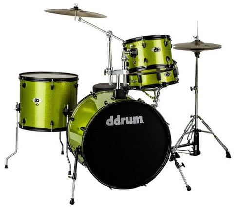 DDrum D2 Rock Kit Lime Spkl W/ Blk Hardware