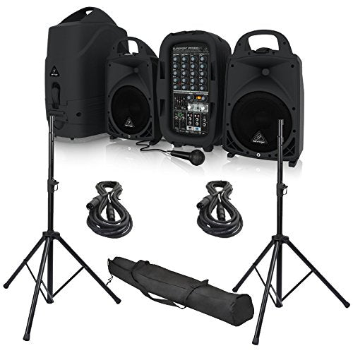 Behringer EUROPORT PPA500BT 500W 6-Channel Portable PA System with Bluetooth and 2 Speaker Stands, Cables and Speaker Bag Bundle