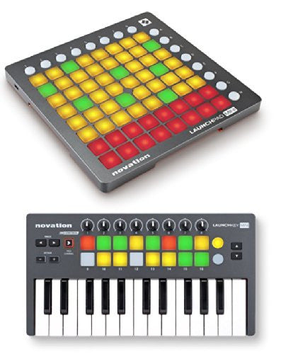 Novation Launchkey Mini AND Launchpad Mini Bundle Compact Instrument USB  MIDI Controller Keyboard for Performing and Producing Music for iPad, Mac  and