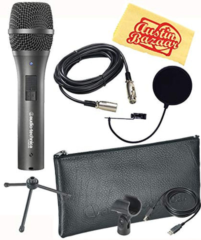 Audio-Technica AT2005USB Cardioid Dynamic USB/XLR Microphone Bundle with Pop Filter, XLR Cable, and Polishing Cloth