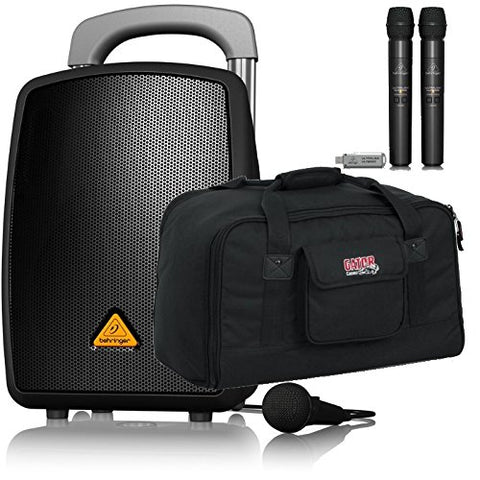 Behringer EUROPORT MPA40BT-PRO All-in-One Portable PA System with Bluetooth 2 Wireless ULM202-USB Handheld Mic and Speaker Bag Bundle