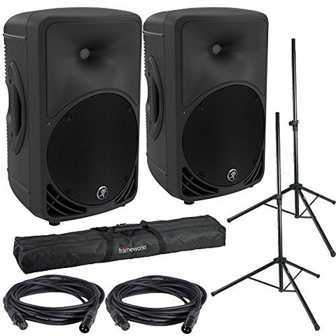 Mackie SRM350V3 Powered Speakers w/ Gator Stands, Bag and Cables