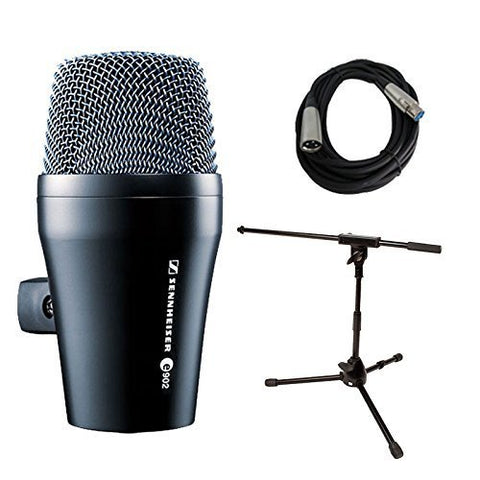 Sennheiser E902 Kick Drum Bass Dynamic Microphone with Stand and Cable Bundle