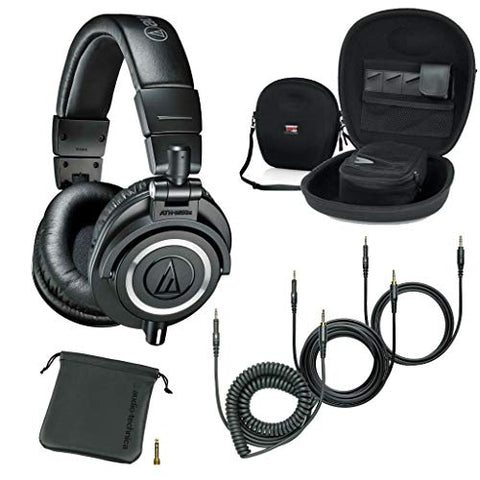Audio-Technica ATH-M50x Professional Studio Monitor Headphones Black Case Headphones Accessories Bundle