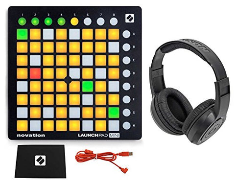 Novation LAUNCHPAD MINI MK2 MKII USB MIDI DJ Controller 64-Pad+Samson Headphones